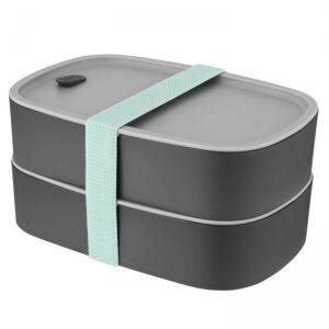 Box na svačinu dvojitý LEO šedá
