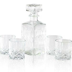 Whiskey set karafa + sklenice sada 5 ks křišťálové sklo 900ml