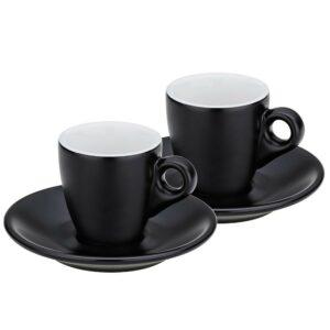 Hrnek na espresso s podšálkem sada 4 ks MATTIA černá