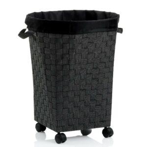 Koš na prádlo na kolečkách PORTO černá