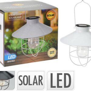 Lampa solární zahradní k zavěšení bílá