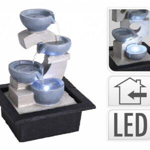 Fontána pokojová s LED osvětlením 4 nádoby