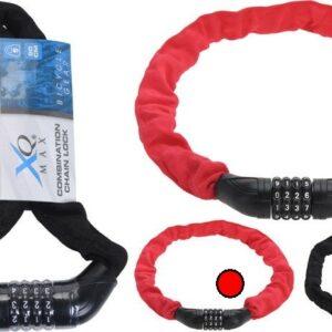 Zámek na kolo řetězový s číselným kódem 90 cm červená