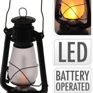 Lucerna s LED žárovkou kov 30 cm černá