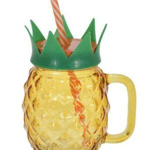 Sklenice na limonádu s brčkem 400 ml ANANAS oranžová EXCELLENT KO-DS6000960or
