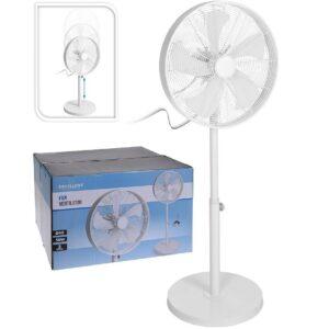 Ventilátor stojanový nastavitelný 125 cm kovový bílý