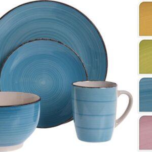 Jídelní sada talířů keramika 16 ks modrá EXCELLENT KO-Q88000060mo