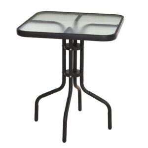 Zahradní stůl kov / sklo 60 x 60 x 70 cm